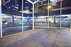 Modern glass perspective corridor Night Stock Photos