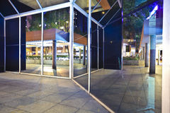 Modern glass perspective corridor Night Royalty Free Stock Photo