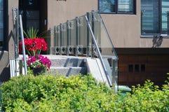 Modern glass railing stock images