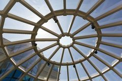 Modern glass roof. Above view of metal and glass roof Royalty Free Stock Photos