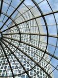 Modern glass roof in Azrieli shopping center . Modern glass roof in Azrieli shopping center with view on skyscraper in Tel Aviv, Israel Stock Images