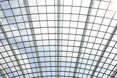 Modern glass roof inside office center. The metal and glass roof inside of office center Royalty Free Stock Photos