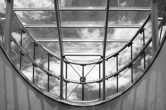 Modern glass roof. Look up to the modern glass roof in the futuristic building Stock Image