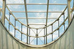 Modern glass roof. Look up to the modern glass roof in the futuristic building Stock Photo