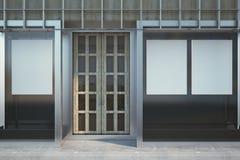 Modern glass shopfront med affischen royaltyfri illustrationer