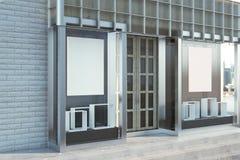 Modern glass shopfront med affischtavlan vektor illustrationer