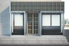 Modern glass shopfront med banret stock illustrationer