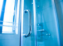 Modern glass shower cabin Stock Photos