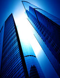Modern glass silhouettes of skyscrapers. At night royalty free stock photos