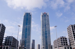 Modern glass silhouettes of skyscrapers in the city. Royalty Free Stock Image