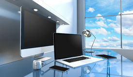 Modern glass skrivbordinre med dator- och för apparater 3D renderin Arkivbild