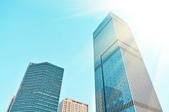 Modern glass Skyscraper. Under sunlight Royalty Free Stock Photo