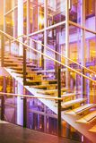 Modern glass stairs, office and shopping, mall and hotel.  Royalty Free Stock Images