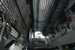 Modern glass and steel architecture of Kyoto train Station Stock Photos