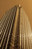 Modern glass and steel office building. Sepia effect modern glass and steel office building royalty free stock photo