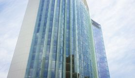Modern glass and steel office building. Modern glass and steel office nfinance building stock photo
