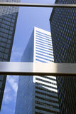 Modern glass and steel office buildings in lower manhattan Stock Images