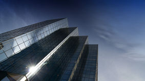 Modern glass and steel office tower Royalty Free Stock Photos
