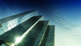 Modern glass and steel office tower stock image