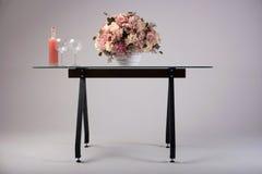 Modern glass table studio shot on white background Royalty Free Stock Photo
