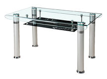 Modern glass top dining table Royalty Free Stock Photo