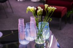 Modern glass vases in different shades, pink, white, blue, with flowers standing in the interior stock photos