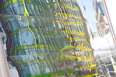 Modern glass walls reflecting abstract distorted reflection Royalty Free Stock Photography