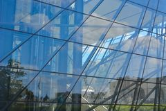 Modern glass windows. And metal construction, architecture Royalty Free Stock Images
