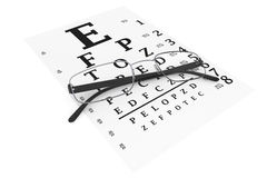 Modern glasses with eyechart Stock Photos