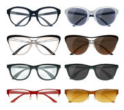 Modern Glasses Set. Realistic set of modern glasses and sunglasses with colorful frames isolated on white background vector illustration Royalty Free Stock Image