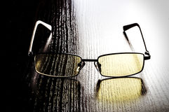 Modern glasses to eye protection with yellow lenses Royalty Free Stock Photo