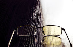 Modern glasses to eye protection with yellow lenses Royalty Free Stock Image