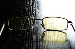 Modern glasses to eye protection with yellow lenses Royalty Free Stock Photography