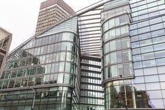 Modern glazed office buildings, business center, London, United Kingdom. LONDON, UNITED KINGDOM - JUNE 22, 2017: Modern glazed office buildings, business center Royalty Free Stock Photos