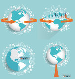 Modern globe and City with application icon, modern template des Royalty Free Stock Photography