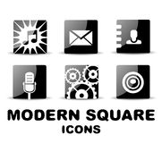 Modern glossy black square icon set Stock Photo