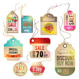 Modern glossy brown tag and labels design with sam Stock Image