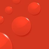 Modern glossy circles on red vector background Stock Image