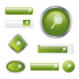 Modern glossy green search button set Royalty Free Stock Image