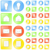 Modern glossy icon set. Vector illustration of simple slick glossy icons in four themes: idea/concept, home, mail and document symbols. Four colors: blue, green Royalty Free Stock Photos
