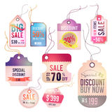Modern glossy lady tag and labels design with samp Stock Image