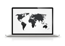 Modern glossy laptop  With World Map. Modern glossy laptop isolated on white With World Map Royalty Free Stock Images