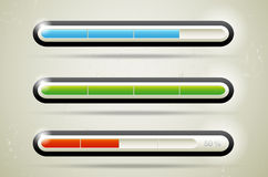 Modern glossy loading bars. Three modern glossy loading bars for your web page royalty free illustration