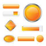 Modern glossy orange buttons vector illustration