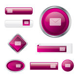 Modern glossy pink contact button set. In different shapes Royalty Free Stock Image