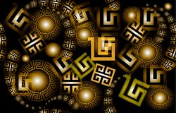 Modern glowing 3d greek vector seamless pattern. Abstract shiny geometric background. Beautiful illuminated greek key meander ornament with paisley style Stock Image