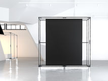 Modern glowing showcase with blank black canvas. 3d rendering Stock Image