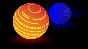 Modern glowing sphere ball 3d vector. This is a Modern Glowing sphere ball 3d vector with a gold and blue color stock illustration