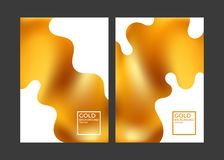 Modern gold covers. Fluid color background. Minimalism Stock Images