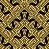Modern gold geometric seamless pattern. Abstract black backgroun. D wallpaper illustration with 3d geometric shapes, figures, hexagons, triangles, rhombus Stock Images